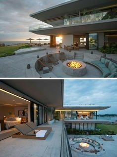 Dream Home Design, Modern House Design, Modern Glass House, Modern Houses, Mexican House, Future House, Small Patio Ideas On A Budget, Design Exterior, Built In Seating