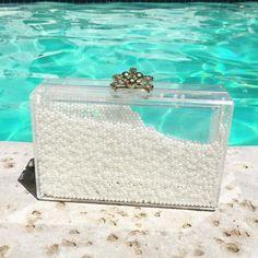 Pearls and pools  #coachella #shop #whiteclutch #classic #clutch #ashlynd #white #pearls #pools #summer #shopping #clutchbag #purse #weddingclutch