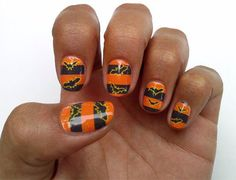 Simple-Easy-Halloween-Nail-Art-Designs-Ideas-Stickers-9 check out www.MyNailPolishObsession.com for more nail art ideas.