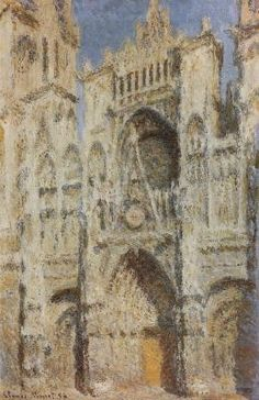 """Claude Monet The Portal of Cathedral of Rouen Cathedral  in morning light, harmony in blue and gold""""1894"""