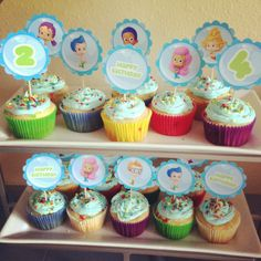 Bubble guppies bday cupcakes Free printable from nickjr.com  Attached to toothpicks with scrapbooking glue dots