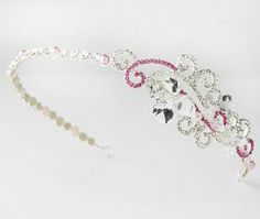 """Silver Pink Clear Crystals Wedding Bridal Headband Tiara Melissa Kay Collection. $73.25. Lead Free Alloy. Size: 13"""" wide and 1/4"""" tall. Silver plated. Swarovski Crystals, Rhinestones, Pearls. Save 33% Off!"""
