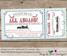 Vintage Train Ticket Personalized Birthday by BugABooDesignz, $12.00