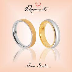 Alianças Romantis em Ouro Branco e Amarelo - Coleção Two Souls   ALR 3412/ ALR3308A