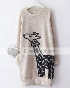 MinXiu Women Giraffe Print Long Sleeve Round Neck Sweater Dress - DinoDirect.com