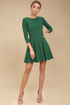 082d61d2cb2e1b Cumulonimbus Clouds Dark Green Skater Dress 7 Short Green Dress