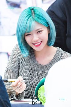 Blue World Images: Twice Jeongyeon Nayeon, Kpop Girl Groups, Korean Girl Groups, Kpop Girls, Twice Jungyeon, Twice Kpop, Suwon, Green Hair, Blue Hair