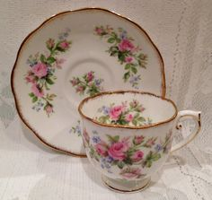 Bone China Cup and Saucer Vintage Roslyn, Moss Rose - Made in England