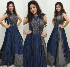 Beautiful Grey and Blue Color Silk Designer Long Anarkali Salwar Kameez for Women.