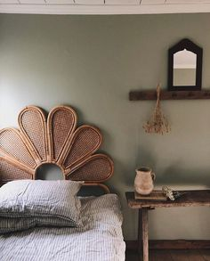 pin + insta // @ f o r t a n d f i e l d ♥ rattan headboard, ticking sheets, farmhouse accents Room Inspiration, Interior Inspiration, Rattan Headboard, Headboard Designs, Interiores Design, Decorating Your Home, Interior Decorating, Interior Designing, Decorating Tips
