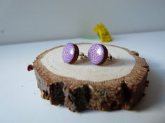 Hand painted purple post earrings, purple earrings, wooden earrings, wooden ear studs, wood post earrings, silver ear posts , gift for her Jewelry  Earrings  Stud Earrings  wooden earrings  minimalist jewelry  earrings  wood earrings  studs  wood studs eco fashion  silver studs  round studs  wood and silver  purple earrings  purple studs  hand painted