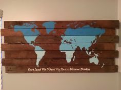 A personal favorite from my Etsy shop https://www.etsy.com/listing/268712850/rustic-world-map-world-map-wood-pallet