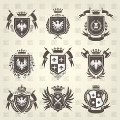 Vector image of Medieval royal coat of arms and knight emblems - heraldic shield crest #149965 includes graphic collections of heraldry, coat of arms, heraldic and blazon. You can download this image in EPS and JPG format.