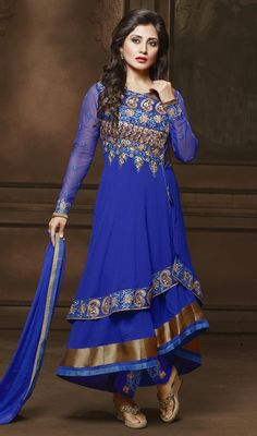 Flaunt a laid back style as Rimi Sen dressed in this blue color georgette embroidered Anarkali pant style suit. The interesting lace, resham and stones work in the course of the attire is awe-inspiring. #newstyleanarkalisuit #fashionableanarkalidress #bollywooddresses