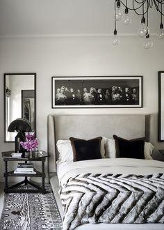 Best Kourtney Kardashian S Guest Bedroom Grey Headboard Black 640 x 480