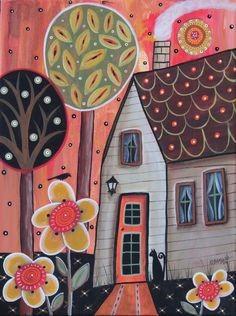 Orange Door 12x16 inch ORIGINAL CANVAS Cottage PAINTING Folk Art Karla Gerard #FolkArtAbstractPrimitive