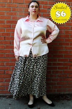 CLEARANCE  Plus Size  Vintage Pink Satin Shirt by TheCurvyElle, $6.00