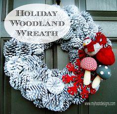 Holiday Winter Woodland Wreath.  www.myHootDesigns.com