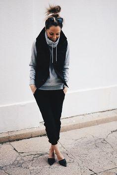 Look #1: Hoodie: H&M / Similar HERE Vest: G Star Pants: James Perse Shoes: Vince Bag: Balenciaga Look 2#: Dress: Alexander Wang Leather Jacket: Veda Shoes: Stuart Weitzman Waist Wrap: American Eagle B