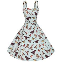 Season Dressing Vintage 50s Hepburn Classique Bird Pattern Swing Brace Dress - Brought to you by Avarsha.com