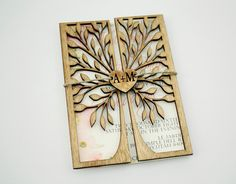 FREE SHIPPING! 25 Luxury Wedding Invitations with Wooden Cover - Cut Out Tree - Engraved Heart- Monogram - Save the Date