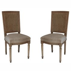 nuLOOM Casual Living Weathered Vintage French Cane Back Linen Dining Chairs Set | eBay
