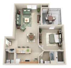 Our Amherst (A1) floor plan hosts 894 sq ft. It has 1 bedroom and 1 bathroom.