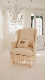 Links to a pattern for a wingback dollhouse chair