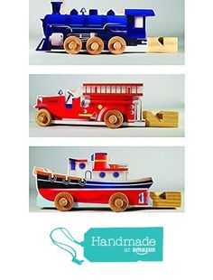 3 Wooden Whistle Vehicles. from Wooden Toys On A Stick http://www.amazon.com/dp/B01F5XER00/ref=hnd_sw_r_pi_dp_Zhdtxb1Y2VVNX #handmadeatamazon