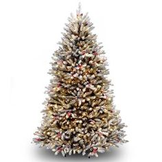 National Tree Company Pre-Lit Dunhill Fir Hinged Full Artificial Tree with Snow, Red Berries, Cones with Clear Lights, Green Slim Artificial Christmas Trees, Types Of Christmas Trees, Christmas Tree With Snow, Beautiful Christmas Trees, Artificial Tree, Christmas Store, White Christmas, Christmas Nails, Christmas Villages