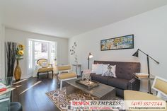 Family room in Thornhill house, staged to sell for a high ROI, via Toronto's home staging company, Design to Impress!