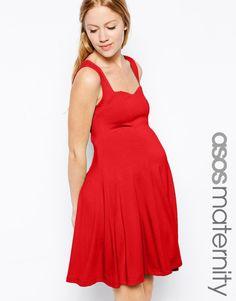 ASOS Maternity | ASOS Maternity Skater Dress With Sweetheart Neck at ASOS
