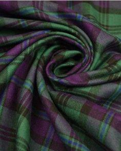 Brushed Cotton Fabric - Green & Purple tartan from Truro fabrics. Scottish Plaid, Scottish Tartans, Tartan Plaid, Plaid Scarf, Tartan Fashion, Harris Tweed, Green And Purple, Blue, My Favorite Color