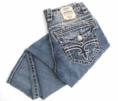 Rock Revival Gary Jeans 31 x 31 Wide Stitch Buckle Slim Straight Frayed Denim #RockRevival #ClassicStraightLeg
