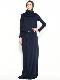 Hooded Dress - Navy Blue - Moonlight