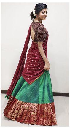 Lehenga Saree Design, Half Saree Lehenga, Pattu Saree Blouse Designs, Half Saree Designs, Lehnga Dress, Fancy Blouse Designs, Lehenga Designs, Saree Gown, Indian Fashion Dresses