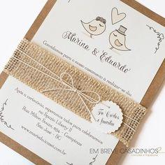 Convite Love Birds, convite de casamento rústico, convite com papel kraft, convite com juta, em breve casadinhos