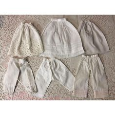 4258cdf5112 Three Antique Slips and Pantaloons for Small French or German Bisque Dolls