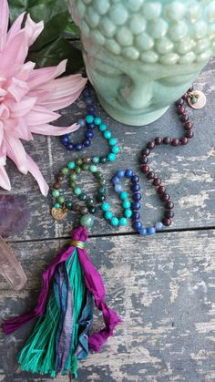 Mala 108, Meditation beads, Mala necklace, Turquoise and Lapis Lazuli for SERENITY + INTUITION