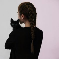 black, cat, and girl image