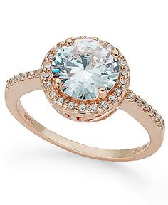 B. Brilliant 18k Rose Gold over Sterling Silver Ring, Round Pave-Set Cubic Zirconia Ring (2-1/3 ct .t.w.)
