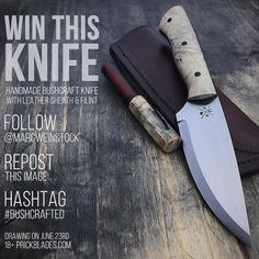 Got a giveaway going on the week. Up for grabs is a handmade bushcraft knife with maple burl handle. Comes with a leather sheath and ferro rod. Good luck!! Entry details: -follow -repost this image -#bushcrafted #knife #knives #handmade #hunting #camping #outdoors #edc #leather #leathercraft #blade #bushcraft #survival #tactical #knifepics #knifemaker #metalart #chicago