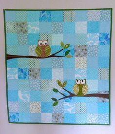 Combining simple square background pattern with cute applique.... a nice way to try different traditional quilt styles with a modern twist! :)