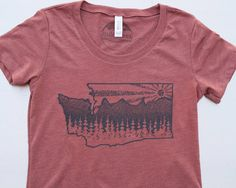 Washington State womens shirt, mountain's the sun and tree's screen printed on blended fabric. Elevate the day! Free shipping in USA. by Milostees on Etsy