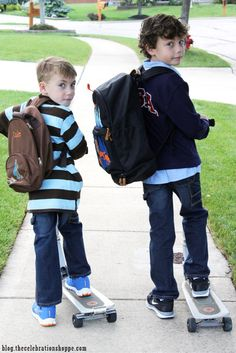 Creative back to school photography ideas with Kim Byers, TheCelebrationShoppe.com #backtoschool #scooters #backpacks