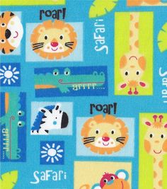 Snuggle Flannel Fabric- Safari Blocks