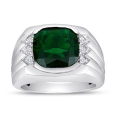 Men's Emerald Ring In Sterling Silver with Genuine