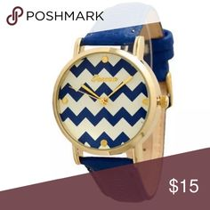 NEW Blue & White Chevron Watch Blue Chevron Watch JUST IN* Beautiful Colors   Great Gift!   *I try to ship the same day, if not the next day.  I only ship MONDAY-FRIDAY.  Please wait for tracking to post, it will give you a better idea when your package will arrive.   I am pretty easy going, with that said, please be courteous and reasonable when posting or requesting anything on my listing.  Thank you in advance.  : ) Happy Shoppping! Geneva Jewelry