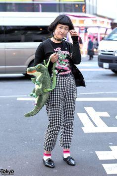 awesome Alligator Backpack & checkered pants ... Seminingen | 17 April 2015 | #Fashion #Harajuku (原宿) #Shibuya (渋谷) #Tokyo (東京) #Japan (日本)