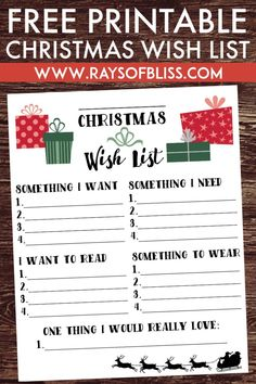 Merry Christmas Wishes : Christmas Wish List Free Printable using the 4 Gift Rule, Something You Want, Need, Read and Wear. Printable from Rays of Bliss. Christmas List Template, Christmas List Printable, Christmas Gifts For Kids, Christmas Holidays, Gift Giving Quotes Christmas, Wishlist For Christmas, Christmas 2019, Christmas List Ideas, Christmas Present List